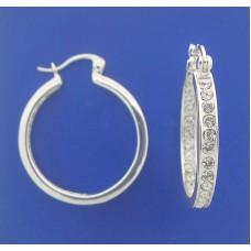 """1382 CZ Hoops Earrings S/S 1.00"""""""