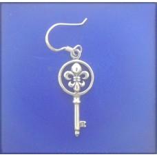 """1490 Round FDL Key Wire Earrings S/S 050""""X1.00"""""""