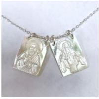 "00 9560  MOP scapular necklace.16+2"""