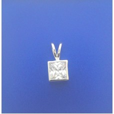 2370 CZ Enclosed Square Pendant S/S 0.30""